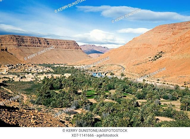 Morocco Er-Rachidia Ifri village and countryside