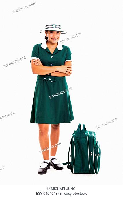 3022dc506b beautiful teen school girl with arms folded isolated on white