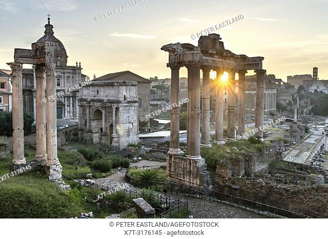 Looking across The Roman Forum at dawn, from the Capitoline Hill, with the temple of saturn in the foreground and the Colosseum in the distance, Rome, Italy