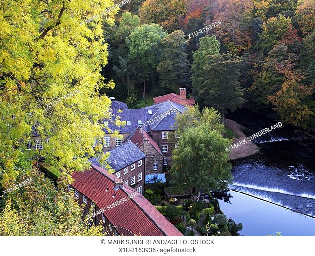 Castle Mills in autumn from the Castle Grounds at Knaresborough North Yorkshire England