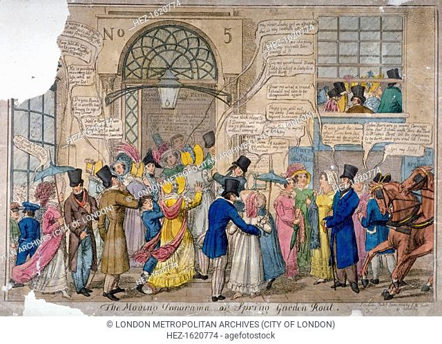 'The moving panorama, or Spring Garden rout..', 1823. Crowds attending the entertainments at Vauxhall Gardens, London, gathered around a doorway