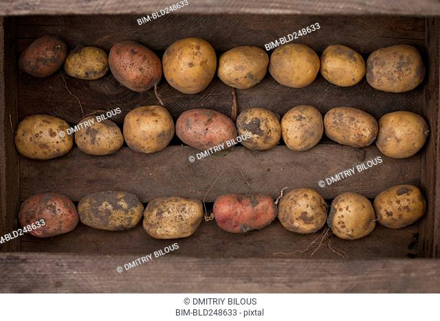 Potatoes in wooden box