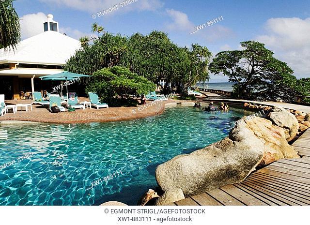 Resort pool area on Heron Island, Capricornia Cays National Park, Great Barrier Reef, Queensland, Australia