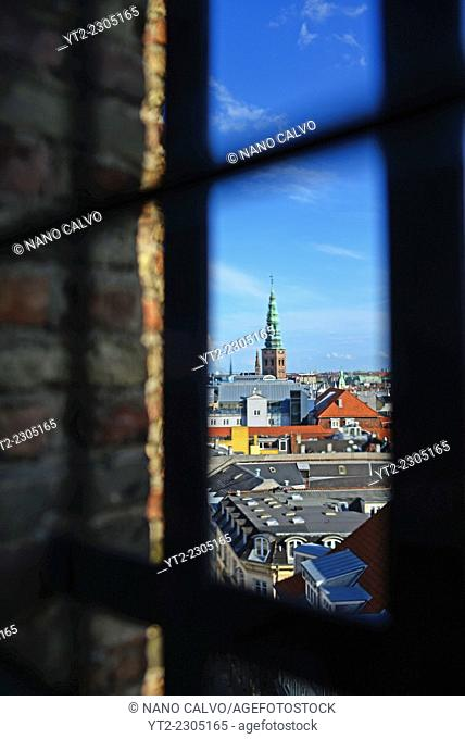 View of city skyline from Rundetaarn, or the round tower, 17th century tower and observatory, the oldest functioning observatory in Europe, Copenhagen, Denmark