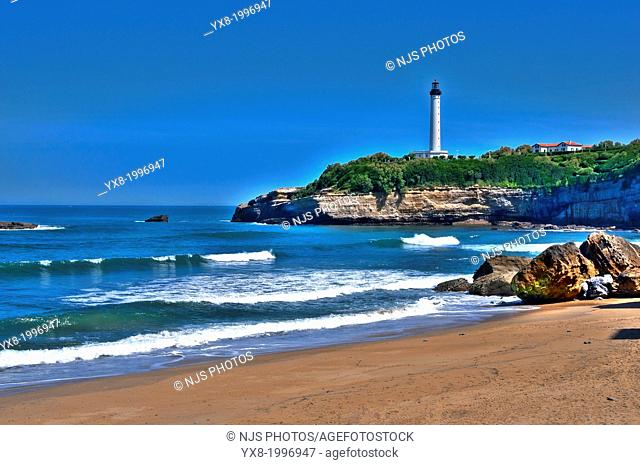 The large beach and the Lighthouse of Biarritz, Basque Coast, Biarritz, Aquitaine, Basque Country, Pyrenees-Atlantiques, 64, France