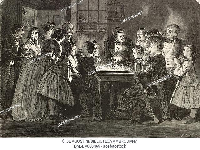 Snapdragon, game table which involves the lighting of brandy and raisins contained in a wide shallow bowl, drawing by C Keene
