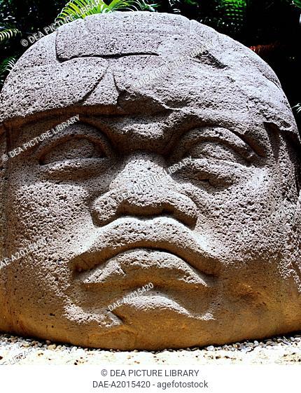 Colossal stone head of a warrior, Villahermosa, Mexico. Olmec Civilization, 1100-475 BC.  Villahermosa, Parque-Museo La Venta