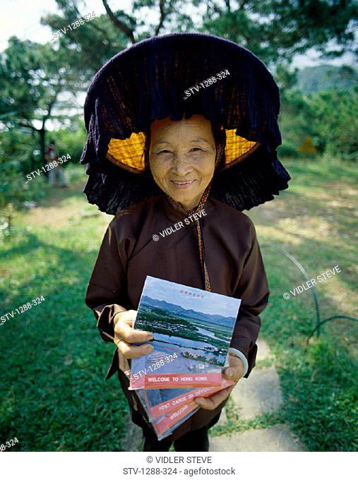 Asia, Asian, China, Chinese, Hat, Holiday, Hong kong, Hongkong, Landmark, People, Postcards, Senior, Tourism, Travel, Vacation