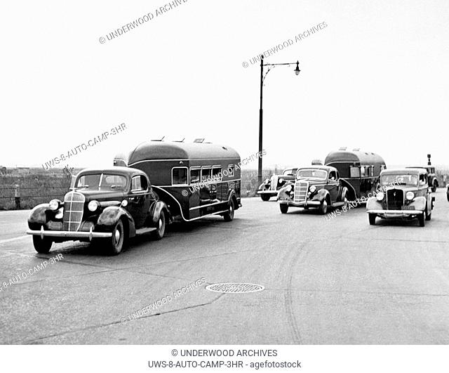 United States: 1936.Curtis Aerocar trailers on the highway