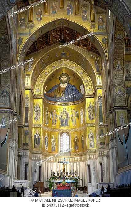 Chancel with wall mosaics, Christ Pantocrator in the middle, Monreale Cathedral, Monreale, Sicily, Italy