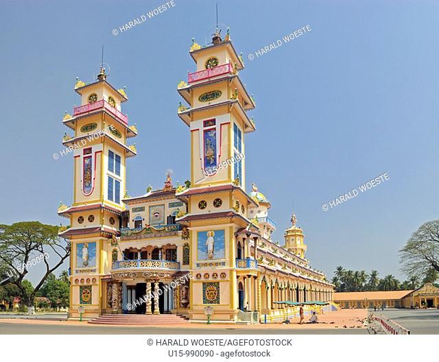 Cao Dai Great Divine Temple built 1933-1955, Cao Dai Holy See, Tay Ninh near Ho Chi Minh City, Vietnam