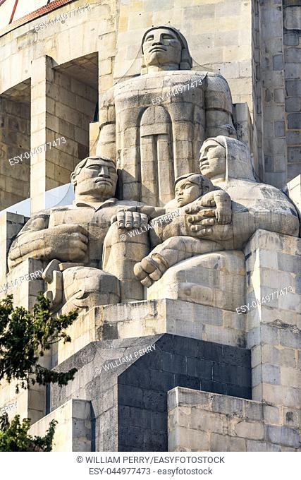 Indian Statues 1910 Revolution Monument Mexico City Mexico. Built in 1932 with the remains of many Revolutionary heroes
