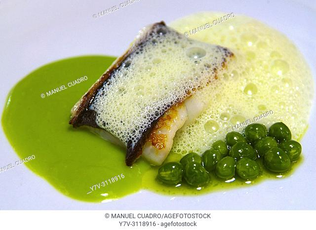 Plato de Rodaballo con guisantes (Turbot with peas). Restaurante Mesón Arropain, Lekeitio, Biscay, Basque Country, Spain