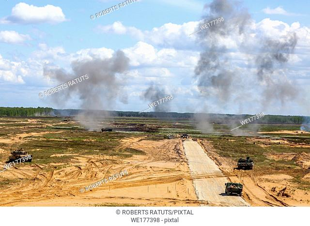 "Explosion and smoke. International Military Training """"Saber Strike 2017"""", Adazi, Latvia, from 3 to 15 June 2017. US Army Europe-led annual International..."