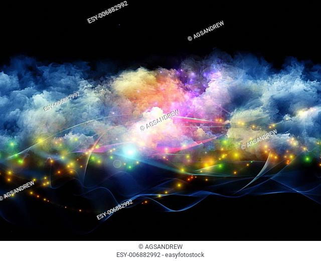 Artistic abstraction on the subject of art, spirituality, painting, music , visual effects and creative technologies composed of clouds of fractal foam and...