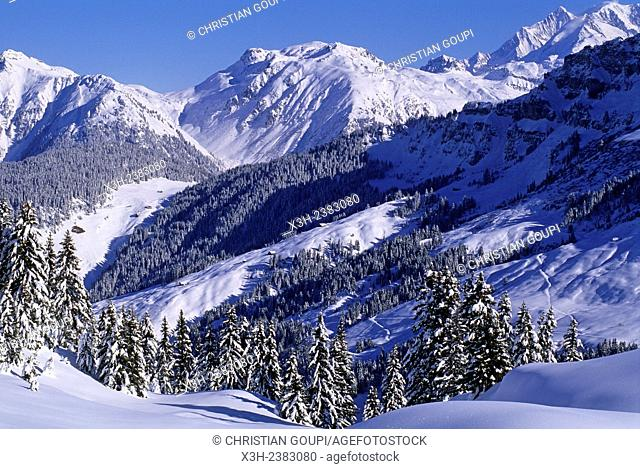 Areches ski resort, commune of Beaufort-sur-Doron, Savoie department, Rhone-Alpes region, France, Europe