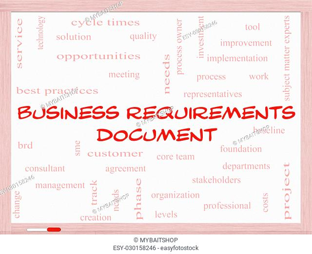 Business Requirements Document Word Cloud Concept on a Whiteboard with great terms such as solution, quality, project, baseline and more