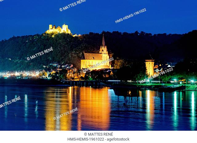 Germany, Rhineland Palatinate, Oberwesel, castle of Schonburg, the romantic Rhine listed as World Heritage by UNESCO