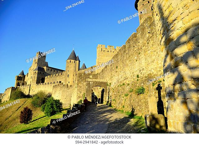 Walls of the city of Carcassone, Languedoc-Roussillon, France