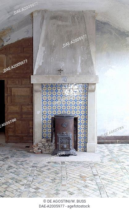 Stove and fireplace in the Chateau d'Egreville, Ile-de-France, France