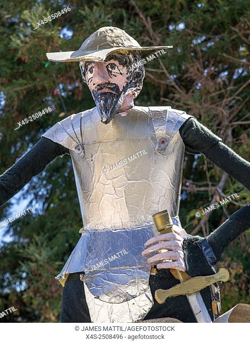 A homemade scarecrow depicting story book character Don Quixote at a Halloween festival