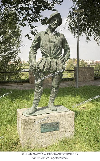 Badajoz, Spain - September the 3rd, 2018: Francisco Pizarro Spanish Conqueror of Inca Empire. Sculpture made by Estanislao García