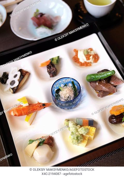 Closeup of a meal served at a Japanese high-end sushi restaurant. Ginza, Tokyo, Japan