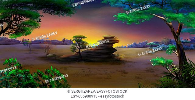 Digital painting of the African Savannah at night with stone rock and acacia tree. Panorama