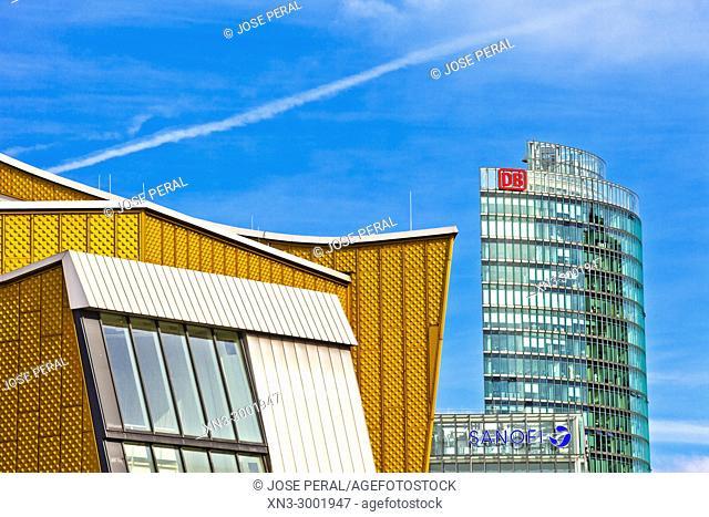 Berliner Philharmonie Concert Hall building, Bahntower or Bahn Tower, Potsdam Square, Potsdamer Platz, Tiergarten district, Mitte, Berlin, Germany, Europe