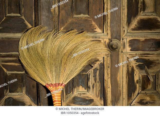 Broom, Monastery Shwe In Bin Kyaung, Mandalay, Burma, Myanmar, Southeast Asia