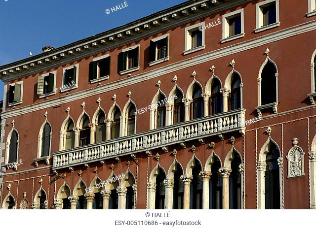 Italian architecture, old palace facade in Venice