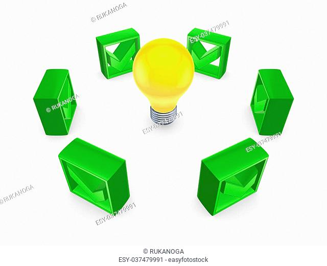 Tick marks around yellow lamp.Isolated on white.3d rendered