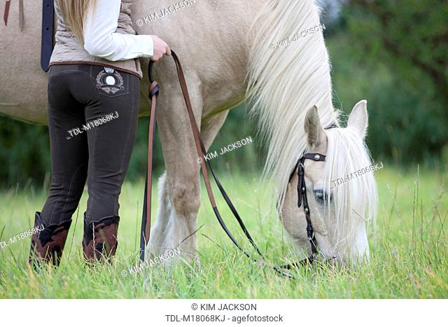 A young woman grazing a palomino horse, cropped
