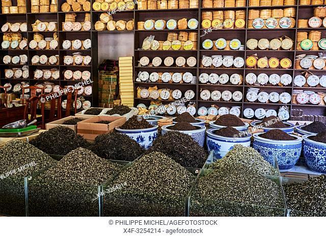 Chine, Province du Yunnan, Kunming, le marché du thé/ China, Yunnan, Kunming, tea market