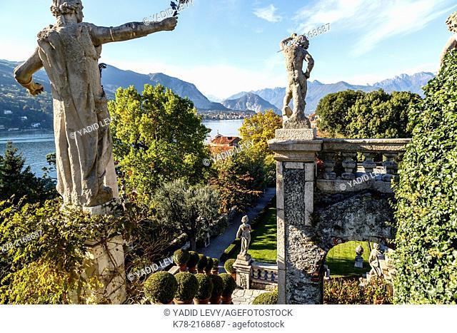 The Borromeo's Palace and gardens on Isola Bella, Borromean Islands, Lake Maggiore, Piedmont, Italy
