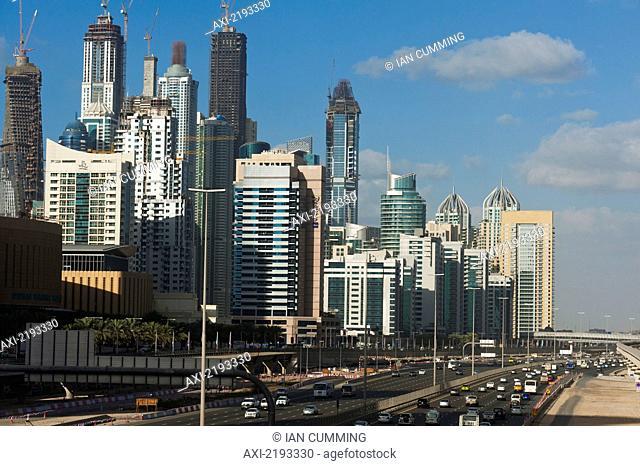 Sheikh Zayed Road and office / residential blocks; Dubai, UAE