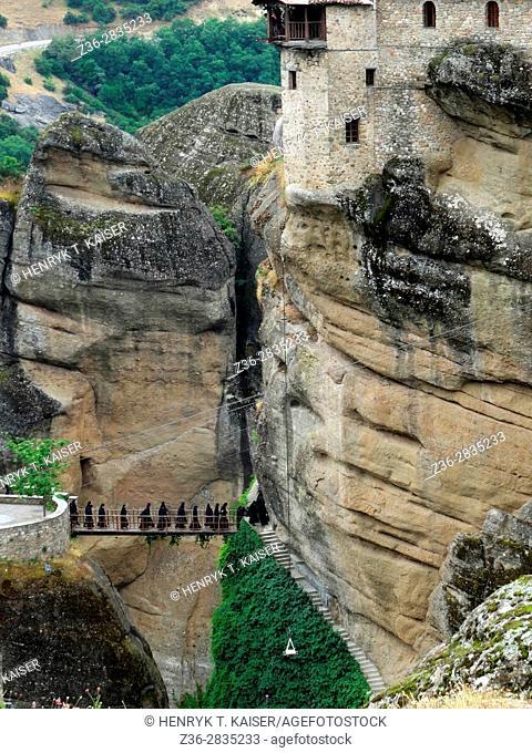 Monks at Agias Triados monastery, Greece, Meteora
