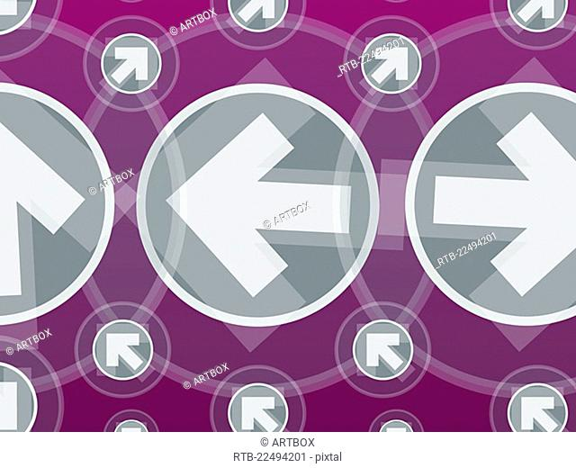 Arrows in circles against a purple background