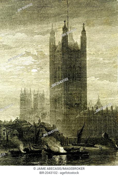 Victoria Tower, Palace of Westminster, London, England, XIXth century, historical illustration, 1896