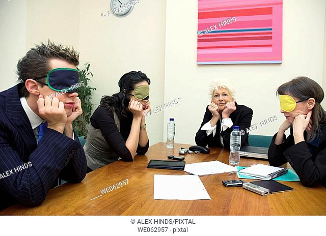 Business team in a boring meeting