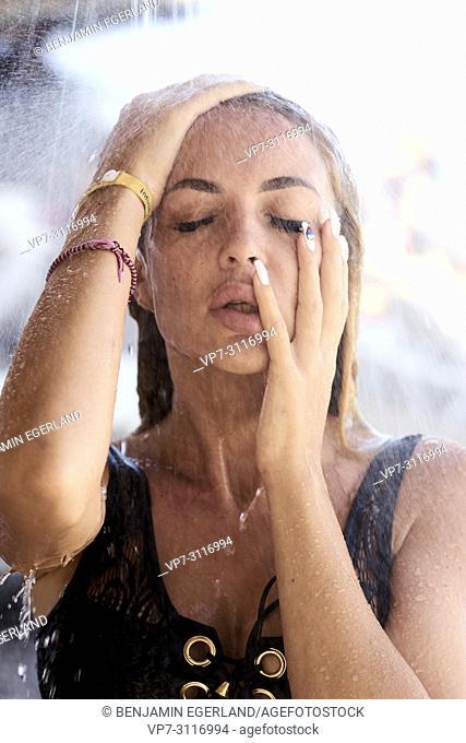 Portrait of young attractive woman in holiday destination Chersonissos, Crete, Greece