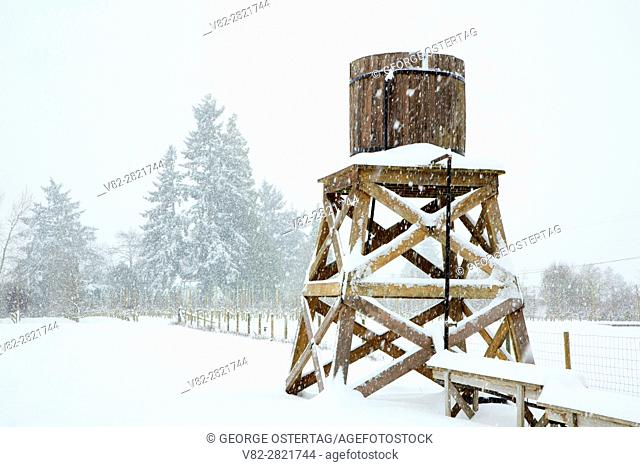 Water tower in snow, Marion County, Oregon