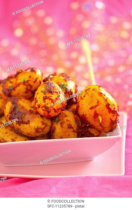 Fried new potatoes with piri piri