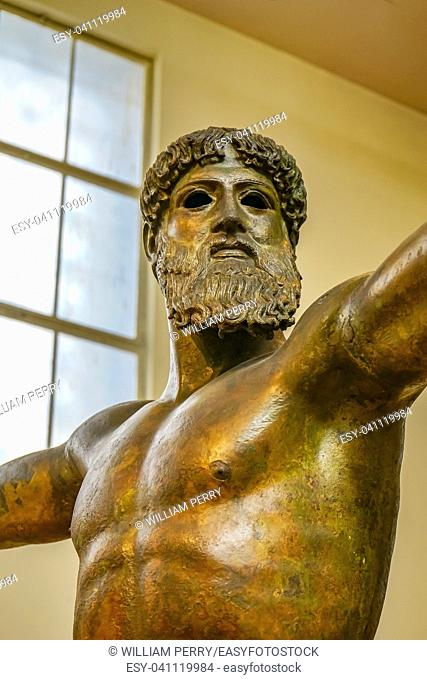 Artemision Bronze Poseiden or Zeus Greek God Statue National Archaeological Museum Athens Greece. Cast 470 440 BC, found in shipwreck Artemision Coast