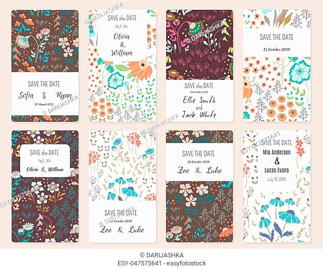 Vector Set of card templates. Perfect for Save The Date, baby shower, mothers day, valentines day, birthday cards, invitations