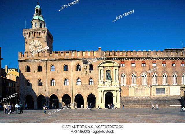Palazzo Comunale (Town Hall) at Piazza Maggiore. Bologna. Italy