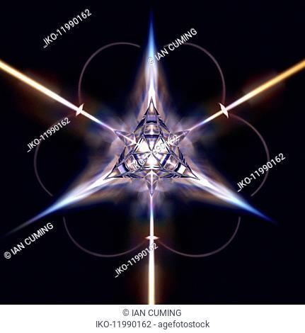Abstract shiny three dimensional geometric star shape
