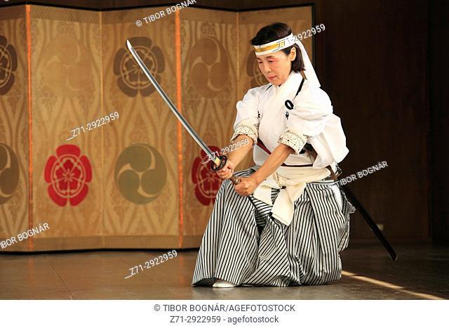 Japan, Kyoto, Gion Matsuri, festival, traditional performance, sword dancer,