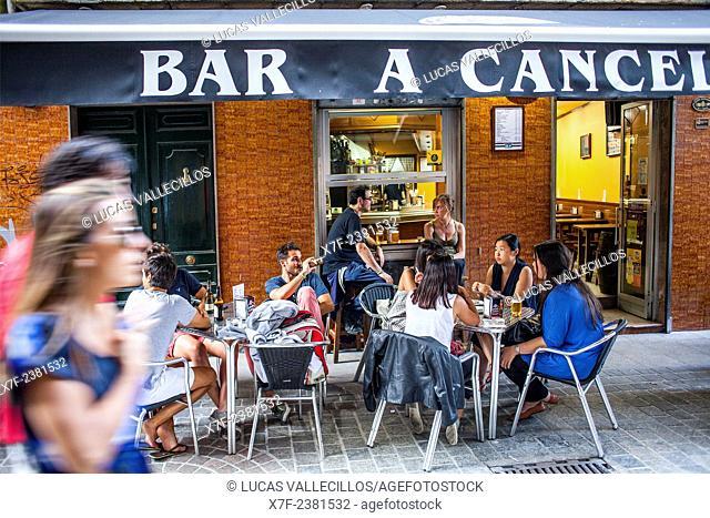 Bar A Cancela, terrace, Calle Barrera 16, Coruña city, Galicia, Spain
