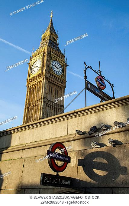 Big Ben (Elizabeth Tower) from the entrance to Westminster underground station in London, England